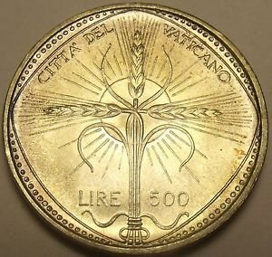 Vatican 500 Lire 1968 Gem Unc Silver~Rare 110k Minted~Wheat Ears Forming Cross~