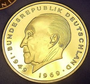 Germany 1976-J 2 Mark Proof~43,000 Minted~Konrad Adenauer~Free Shipping