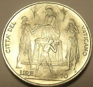 Rare Gem Unc Vatican 1968 FAO 10 Lire~The Feeding Of The 5,000~Free Shipping