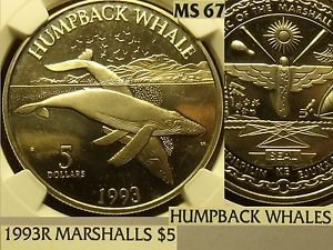 Marshall Islands 1993-R $5~Humpback Whales~NGC MS-67 Highest In World~Pop=1
