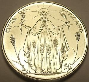 Rare Gem Unc Vatican 1968 50 Lire~Our Lady Of Harvest~190,000 Minted~Free Ship