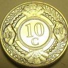 Netherland Antillies 1997 10 Cents Gem Unc~Almond Blossom~Geometric Design~Fr/Sh