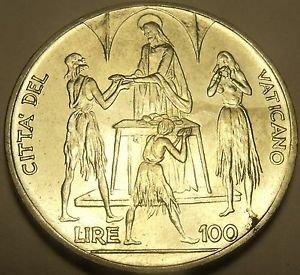 Rare Gem Unc Vatican 1968 FAO 100 Lire~Feeding of The 5,000~Awesome~Free Ship