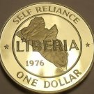 Proof Liberia 1976 Dollar Proof~Rare Only 2,131 Minted~Self Reliance~Free Ship