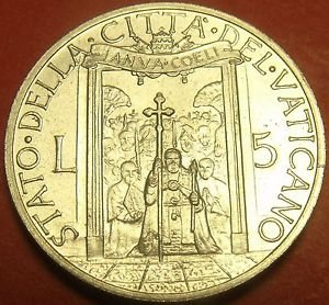 Rare Unc Vatican 1950 5 Lire~Holy Year~Pope & Staff Within Holy Year Door~FR/Shi