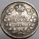 Canada 1919 5 Cents Silver~Free Shipping