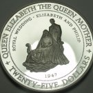 Jamaica 1994 $25 Silver Proof~Rare~Queen Mothers Wedding Portrait~20,000 Minted