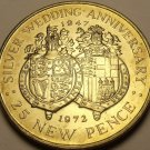 Gibraltar 1972 25 Pence Unc~70,000 Minted~25th Wedding Anniversary~Free Shipping