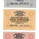 Italy 5-10-50 Centesimi Military Issue World War I Notes 1918~Pick M1-M2-M3~Rare