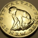 Gibraltar 1971 25 Pence Unc~75,000 Minted~Barbery Ape~Free Shipping