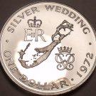 Bermuda 1972 Silver Proof Dollar~RARE~14,078 Minted~Silver Wedding Anniv~Fr/Ship