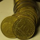 Circulated Roll (50 Coins) France 10 Centimes Coins 1963-1998~Liberty Bust~Fr/Sh