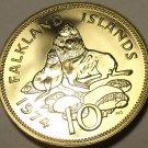 Rare Proof Falkland Islands 1974 10 Pence~Ursine Seal~1st Year Ever~Free Ship