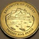 Jersey Unc 1977 25 Pence~25th Anniv~Mont Orgueil Castle And Gorey Harbour~Fr/Shi