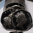 Incredible Proof Roll (20) Great Britain 1988 50 Pence Coins~Britannia~Free Ship