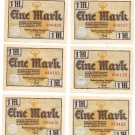 Germany Glashutte 1921 1 Mark Notgeld Unc Lot Of 6~Excellent~Free Shipping