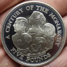 Guernsey 2000 5 Pounds Silver Proof~A Century Of Monarchy~10,000 Minted~Rare~F/S