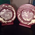 Incolay Enchanted Moments Cameo Glass Plates (2) Red Ivory~New Never Displayed~