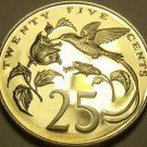 Rare Proof Jamaica 1978 25 Cents~Only 6,058 Minted~Streamer-Tailed Hummingbird~