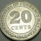 Malaya 1943 20 Cents Silver Gem Unc~1st Year Ever~Free Shipping