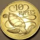 Seychelles 1974 10 Rupees Unc~Green Sea Turtle~Free Shipping