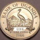 Uganda Shilling, 1966~Rare Proof~8,250 Minted~East African Crowned Crane~Fr/Ship