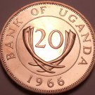 Uganda 20 Cents, 1966~Large Rare Proof~8,250 Minted~Free Shipping