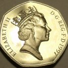 Great Britain 50 Pence, 1997 Cameo Proof~LARGE TYPE~70,000 Minted~Free Shipping