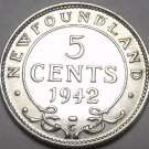 Newfoundland 1942 5 Cents Silver AU~Excellent~Free Shipping