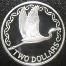 New Zealand 2 Dollars, 1990 Rare Silver Proof~Kotuku, White Heron~10k Minted~F/S