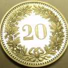 Rare Proof Switzerland 1986 20 Rappen~Only 10,000 Minted~Free Shipping
