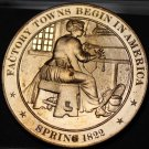 1822 Factory Towns Begin In America~Franklin Mint Bronze Proof Medallion~Fr/Ship