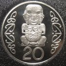 New Zealand 20 Cents, 1990 Rare Proof~10,000 Minted~Pukaki~Free Shipping