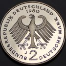 Germany 1980-J 2 Marks Proof~Schumacker~110,000 Minted In Hamburg~Free Shipping