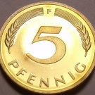 Germany 1977-F 5 Pfennig Proof~Only 51,000 Minted~Minted In Stuttgart~Free Ship
