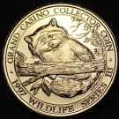 Grand Casino Mille Lacs Minnesota Wildlife Coin Gem Unc 39mm~Racoon~Free Ship