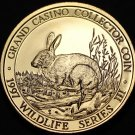 Grand Casino Mille Lacs Minnesota Wildlife Coin Gem Unc 39mm~Rabbit~Free Ship