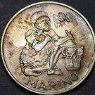 San Marino 500 Lire, 1975 Silver Unc~Golden Toning~Ancient Stonecutter~Free Ship