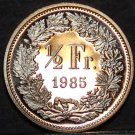 Switzerland 1985 1/2 Franc Rare Proof~12,000 Minted~Helvetia~Free Shipping