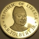Liberia 50 Cents, 1976 Rare Proof~2,131 Minted~Free Shipping