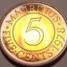 Mauritius 5 Cents, 1978 Gem Proof~RARE~9,268 Minted~Free Shipping