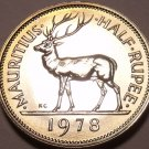 Mauritius 1/2 Rupee, 1978 Gem Proof~Stag~RARE~9,268 Minted~Free Shipping