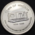 Windsor Newfoundland Canada 50th Anniversary Trade Token Dollar 1988~UNC~Free Sh