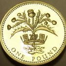 Great Britain Pound, 1984 Cameo Proof~Scottish Thistle~107,000 Minted~Free Ship