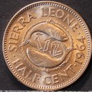 Sierra Leone 1/2 Cent, 1964 Gem Unc~Only Year~Double Fish~600k Minted~Free Ship