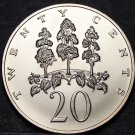 Jamaica 20 Cents, 1974 Gem Unc~RARE~Mahoe Trees~Only 22,000 Minted~Free Shipping