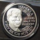 Nelson Mandela Silver Plated 45mm Proof Medallion~Nobel Peace Prize Winner~Fr/Sh