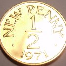 Guernsey Half New Penny, 1971 Rare Proof~10,000 Minted~Free Shipping