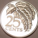 Trinidad & Tobago 25 Cents, 1976 Rare Proof~Chaconia~10k Minted~Free Shipping