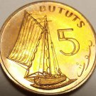 Gambia 5 Bututs, 1971 RARE Proof~32,000 Minted~Sailing Vessel~Free Shipping